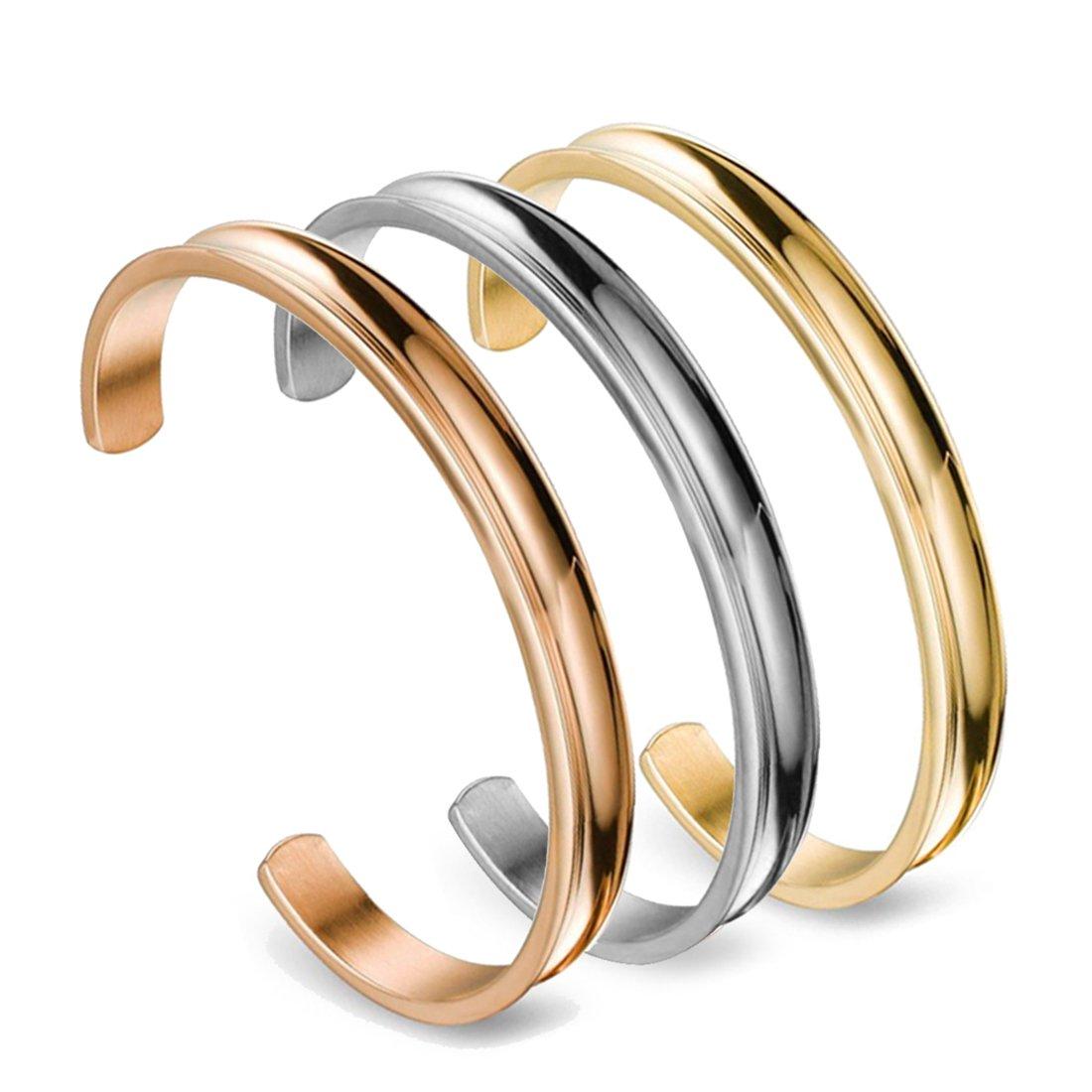 Zuo Bao Stainless Steel Bracelet Grooved Cuff Bangle for Women Girls£¨3pcs/Set£ by Zuo Bao