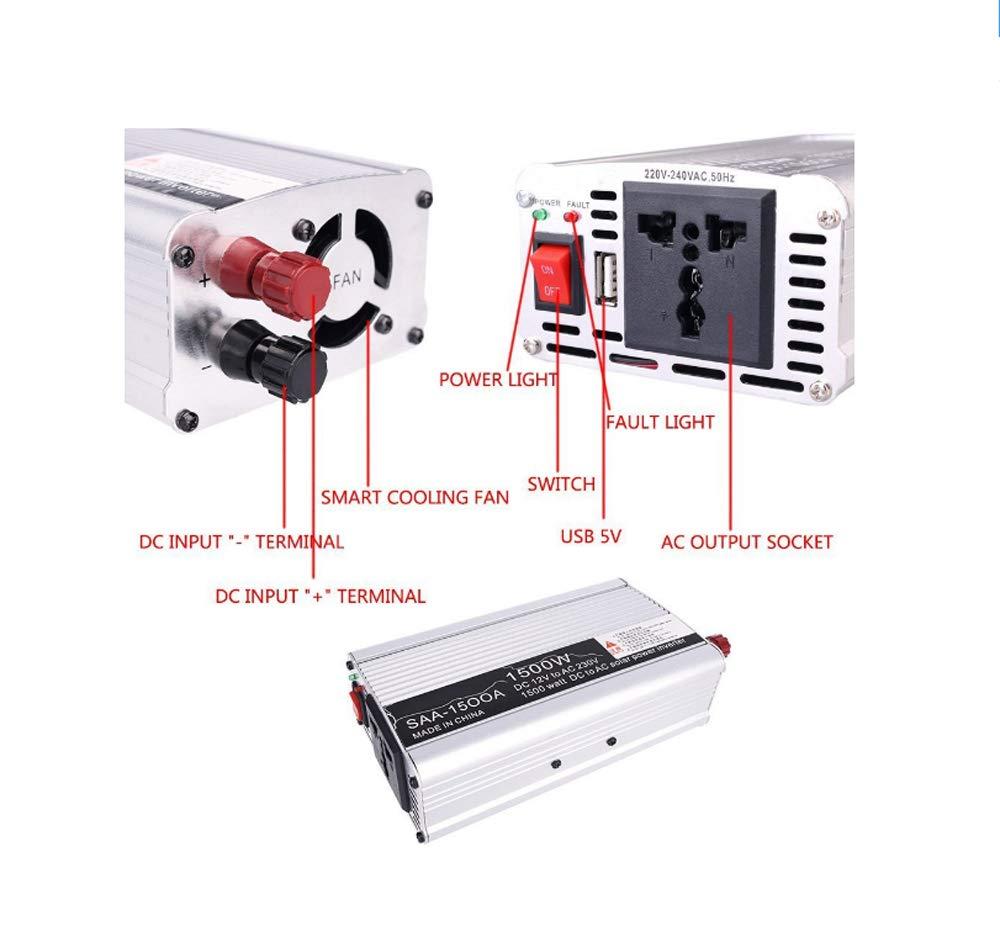 230V AC inversor Adaptador port/átil con Puerto USB Auto Power Inverter DC 12V a 220V 1500W