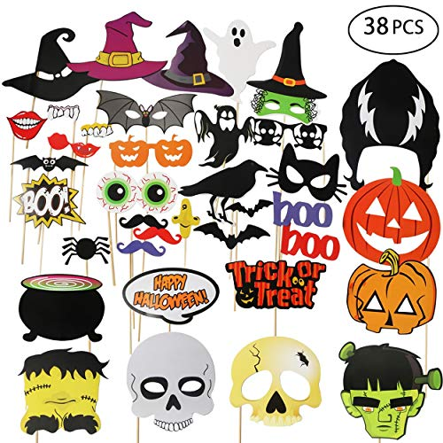 Hip Mall Halloween Photo Booth Props 38pcs DIY Photo Props Hats Lips Bats Terror Skull Masks On a Stick for Happy Halloween -