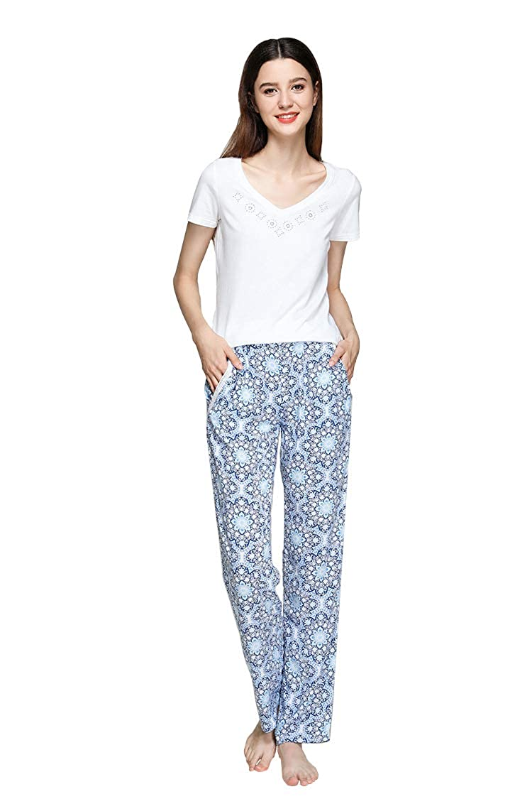 815b5a7f5ddc Women s Pajama Set White Short Sleeve Top   Blue Flowers Pants Sleepwear Pjs  Sets at Amazon Women s Clothing store