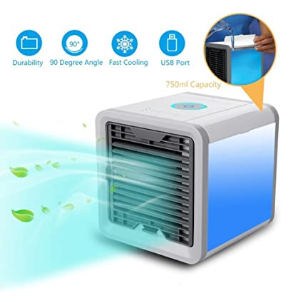 Blue Air Conditioner Arctic Air Personal Space Cooler,Humidifier Purifier,3 in 1 USB Mini Portable Air Conditioner and 7 Colors Nightstand