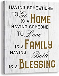 Vintage Inspirational Motto Canvas Wall Art | Welcome to Our Home Prints Rustic Signs Framed | Bedroom,Living Room Wall Decor (15 X 12 inch, White - HFB)