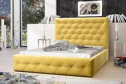 MG Home Möbel Bett Polsterbett Schlafzimmer Doppelbett Roma Gelb (Amore  Gelb, 140 x 200 cm)