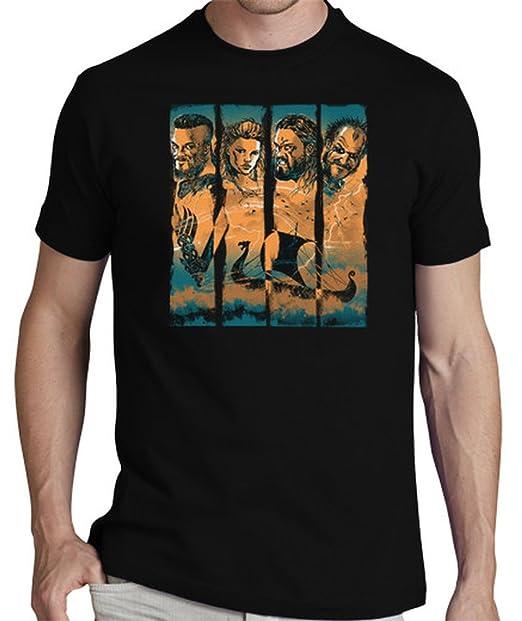latostadora Camiseta Vikingos - Camiseta Hombre clásica, Negro Talla S