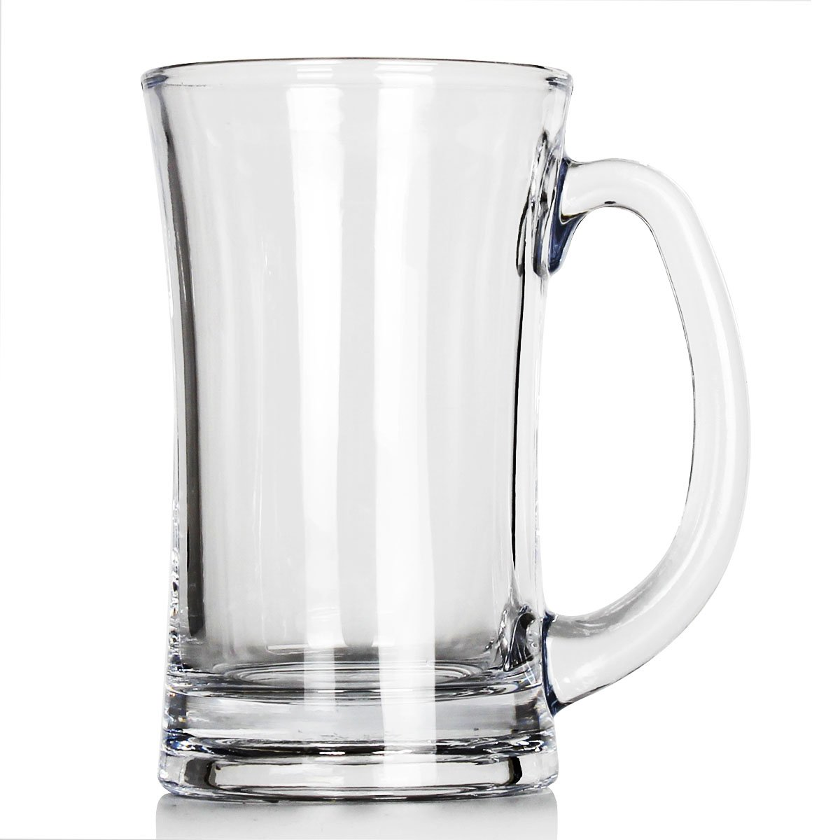 Momugs 12 OZ Clear Glass Beer Stein Mug for Coffee Milk Tea Hot or Cold Juice Beverages