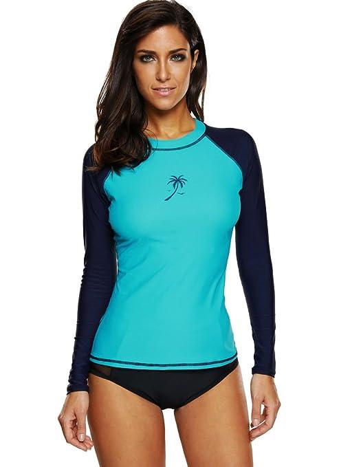 8f69ab7129 Attraco Womens rashguard long sleeve athletic rash guard for women uv shirt  Small Aqua-Navy