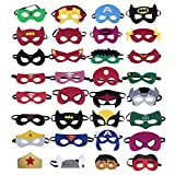 TEEHOME Superhero Masks Party Favors For Kid (32 Packs) NEW UPDATE 2018 Felt and Elastic Superheroes Birthday Party Masks with 32 Different Types For Children Aged 3+