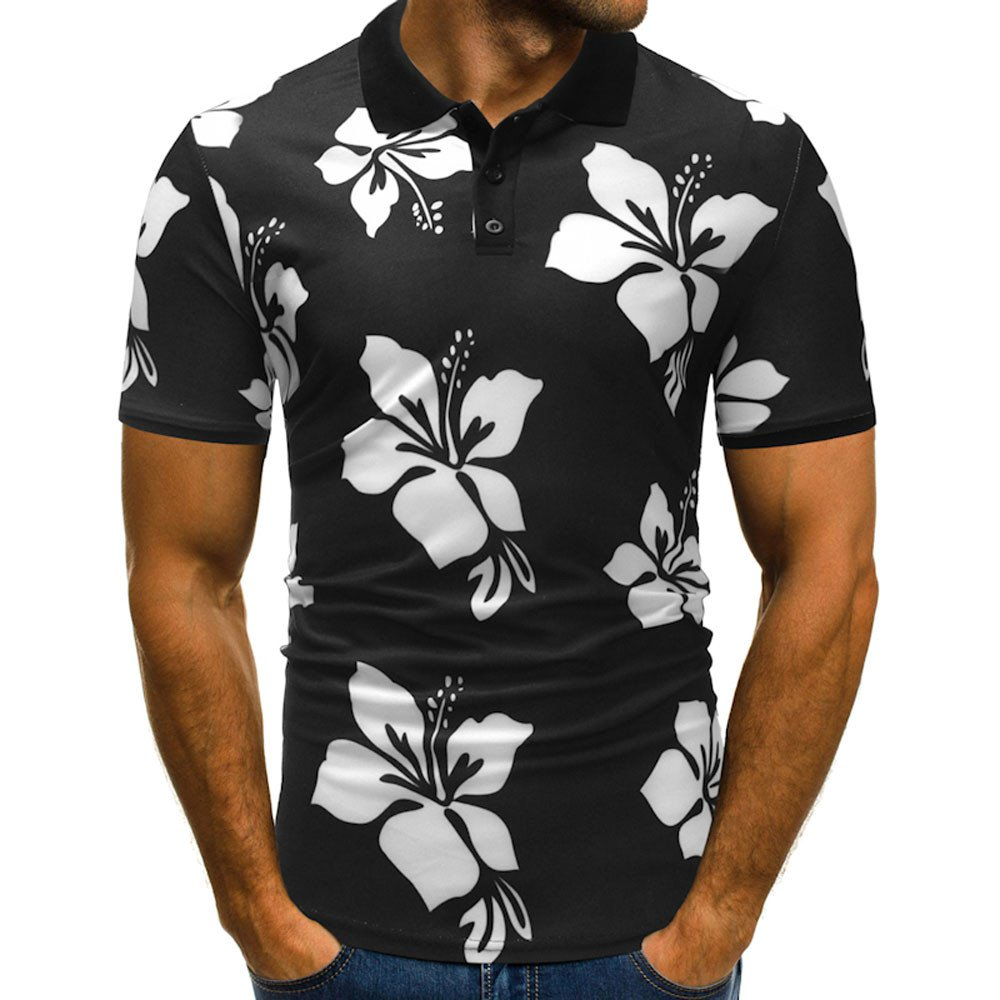 Tanhangguan Mens Polo Shirts Clearance Casual Floral Short Sleeve