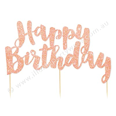 Illume Partyware Rose Gold Glitter Happy Birthday Cake Topper,, Height 6.5 Inches x Width 5 Inches for Birthday Parties for All Ages: Toys & Games