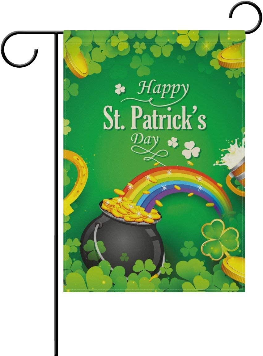 HOOSUNFlagrbfa St. Patrick's Day Polyester Garden Flag 12 X 18 Inches Double Sided, Shamrock Clover Leaf Decorative Yard Flag for Party Home Outdoor Decor