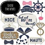 Nautical Bachelorette - Last Sail Before The Veil Bachelorette Party Photo Booth Props Kit - 20 Count