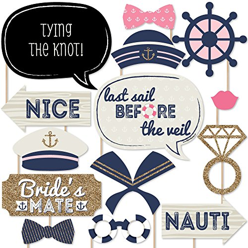 Nautical Bachelorette - Last Sail Before The Veil Bachelorette Party Photo Booth Props Kit - 20 Count