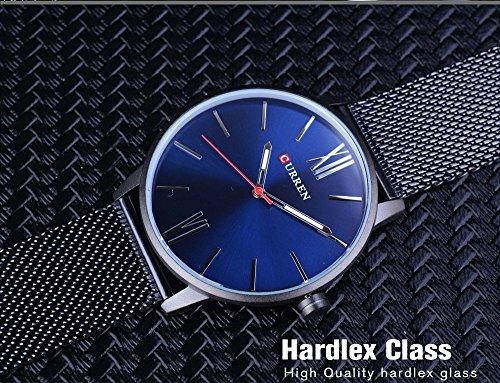 treeweto Hombres de Slim malla muñeca reloj Números Romanos esfera azul Bisiness vestido negro reloj: Amazon.es: Relojes