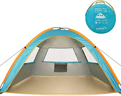 ZOMAKE Instant Beach Tent 3 4 Person, Pop Up Sun Shelter Easy Setup Portable Sun Shade Tent with SPF 50+ UV Protection for Kids Family