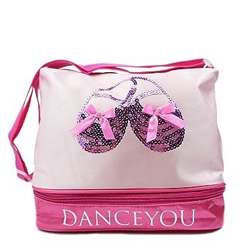 DANCE YOU Bolsa de Ballet Danza Deportes para Niña Tote Bolsa de satén Personalizada Bordada Princesa Niña Infantil