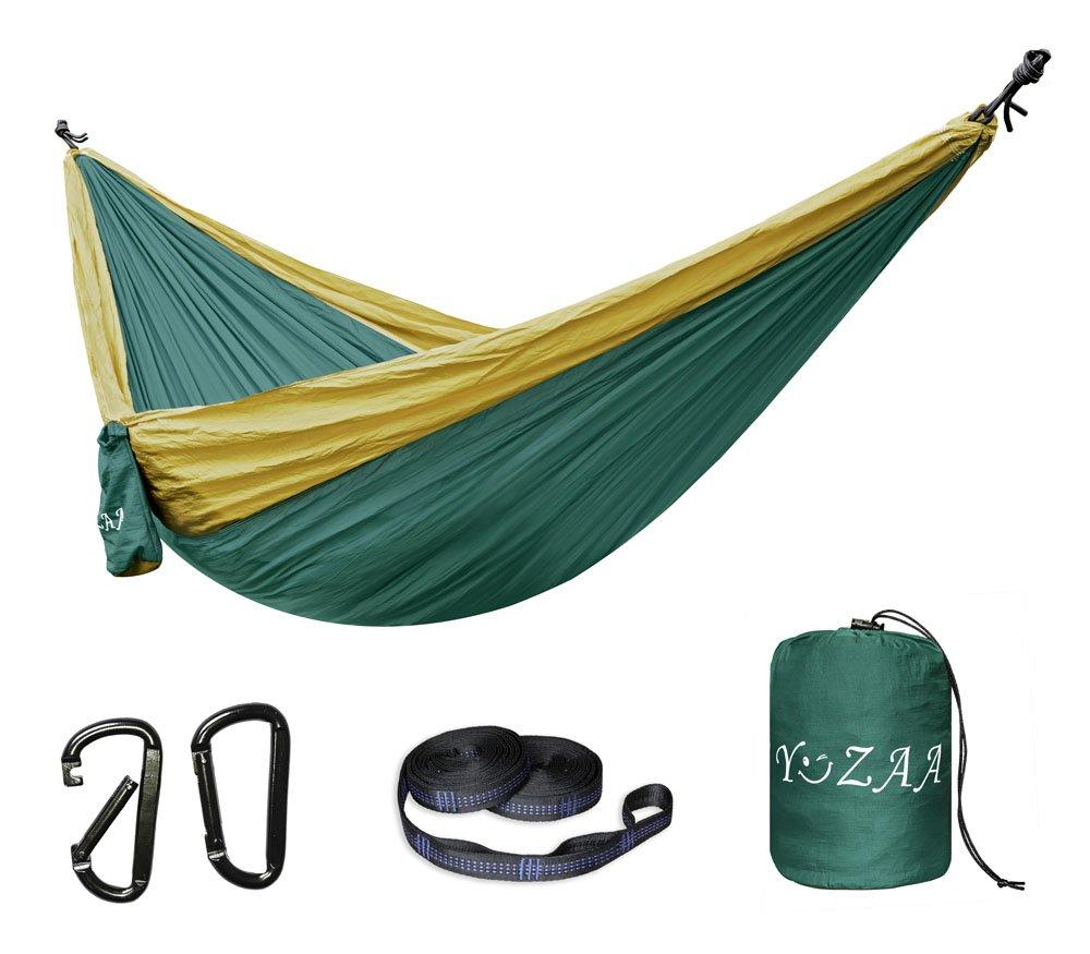 """YoZaa XLダブルキャンピングハンモックのツリーストラップ – 軽量ポータブルハンモックパラシュートHammocksレクリエーション、キャンプ、ハイキング、バックパッキング、。118 """" ( L ) X 78 """" ( W ) B074LMHC34 Darkgreen/Khaki Darkgreen/Khaki"""