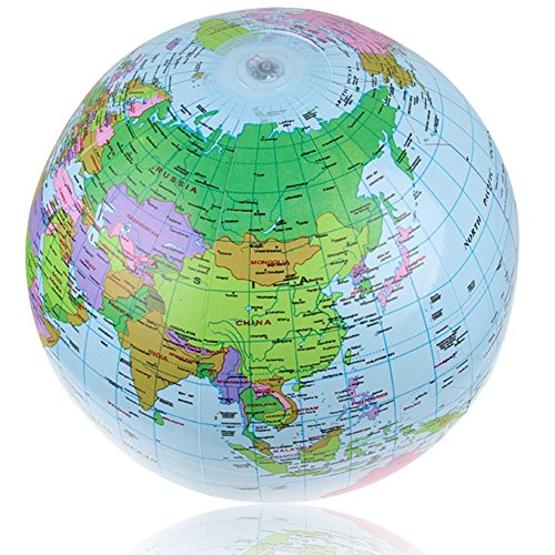 World Geography Toys - Educational Toys Geography - 40cm Inflatable World Globe Map Balloon Beach Play Toys Teach Education Geography Tools (History Geography Toys) -