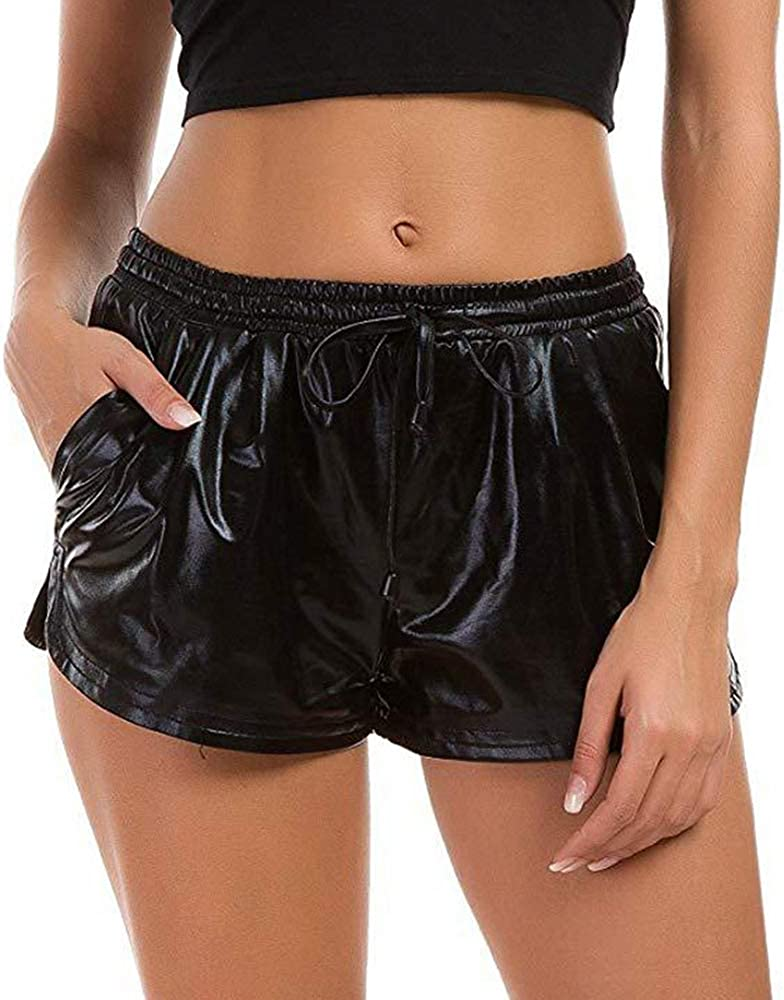 Pantalones Cortos de Rock Street Hipster Chica de Cuero de la PU Recto Pantalones Señora Mediados de la Cintura Delgada de Moda Urbana Casual Pantalones Cortos