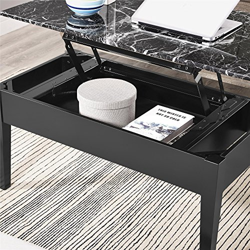 home, kitchen, furniture, living room furniture, tables,  coffee tables 8 discount Faux Marble Lift Top Coffee Table, Black deals