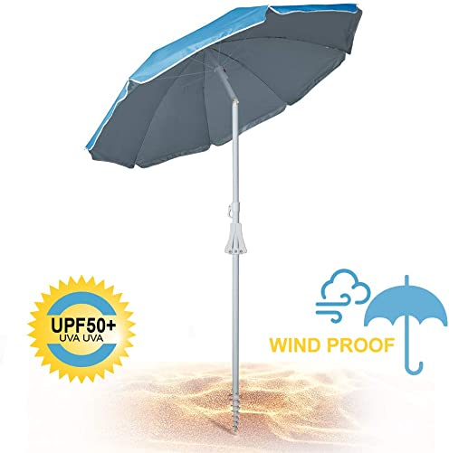 690GRAND Deluxe 6FT Beach Umbrella with Sand Anchor UPF50 Sunshade Aluminum Poles Polyester Canopy Vents Including Crank Tilt and Carry Bag