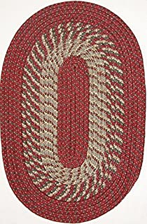 "product image for Plymouth 7'4"" x 9'4"" (88"" x 112"") Oval Braided Rug in Red/Olive"