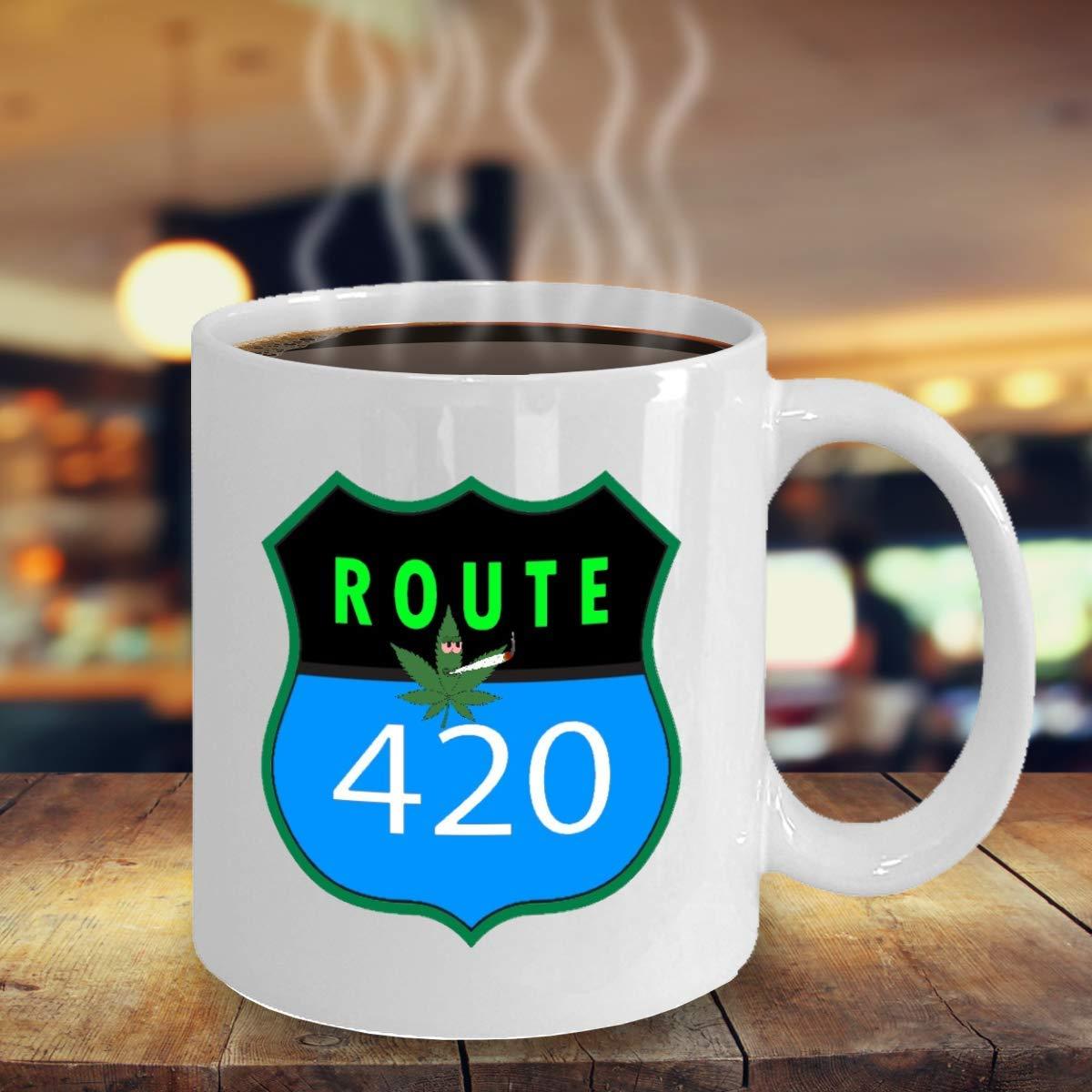 547c9f59c71 Amazon.com: WEED coffee mug - Route 420 - funny pot stoner meme THC ...