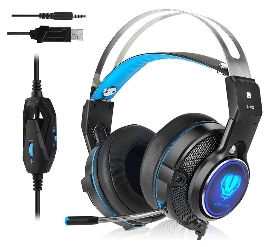 Gaming Headset for Xbox One, PS4, Surround Stereo Sound, 3.5mm Wired Over-Ear Headphone with Microphone and Volume Control for PC, Laptop, Ipad, Nintendo Switch (Blue) by Hisionlee