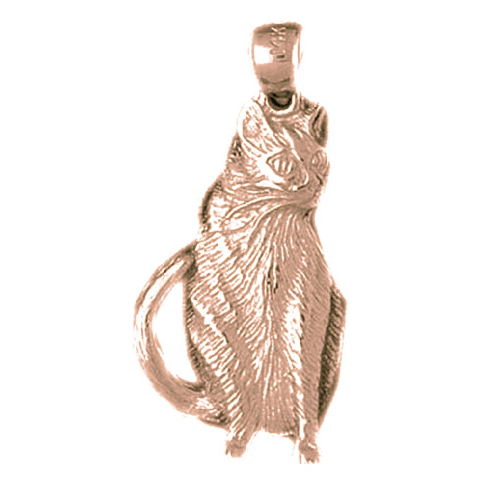 Rose Gold-plated Silver 31mm Cat Pendant