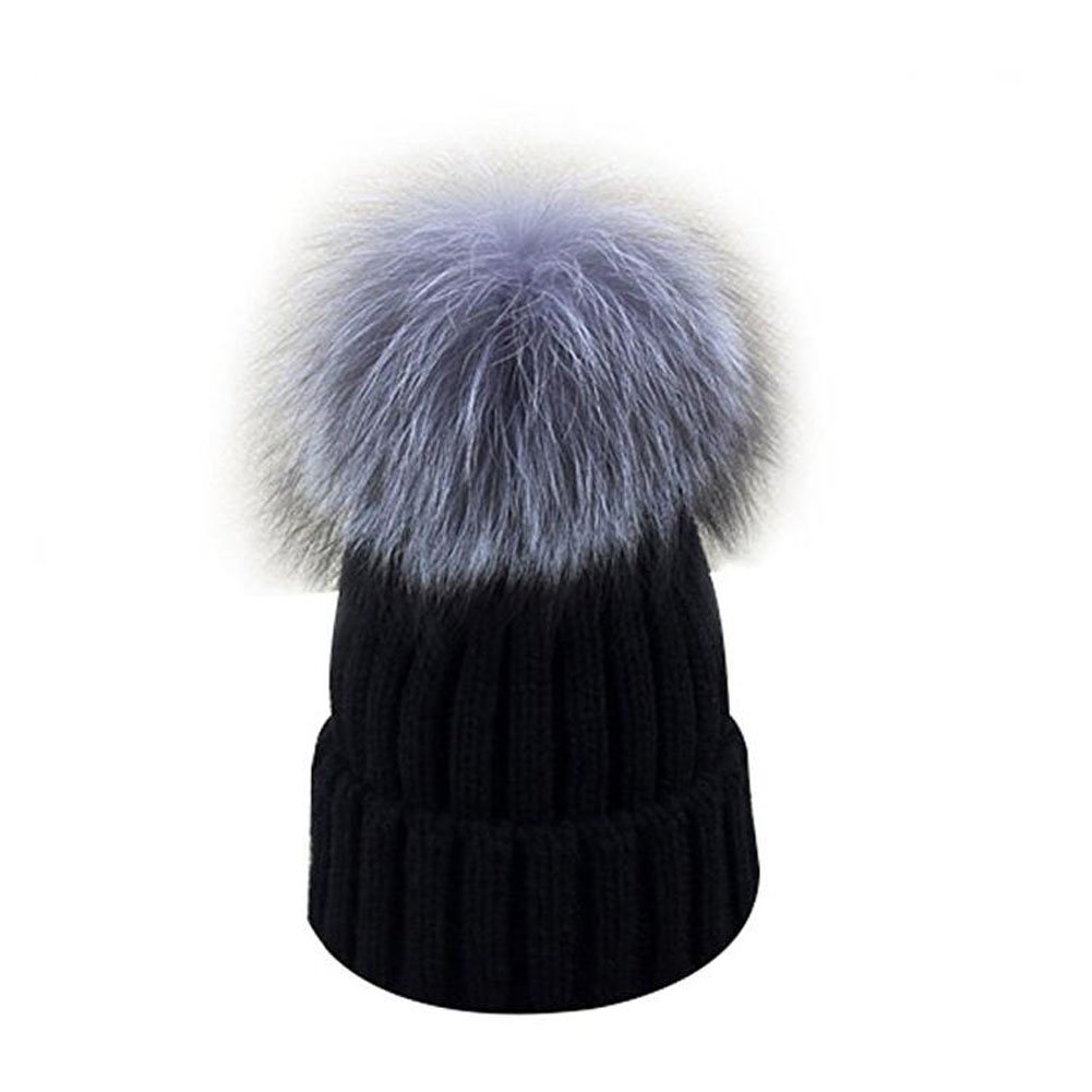 be6e0f785734e GuoMan Womens Girls Knitted Fur Hat Real Large Silver Fox Fur Pom Pom  Beanie Hats Black at Amazon Women s Clothing store