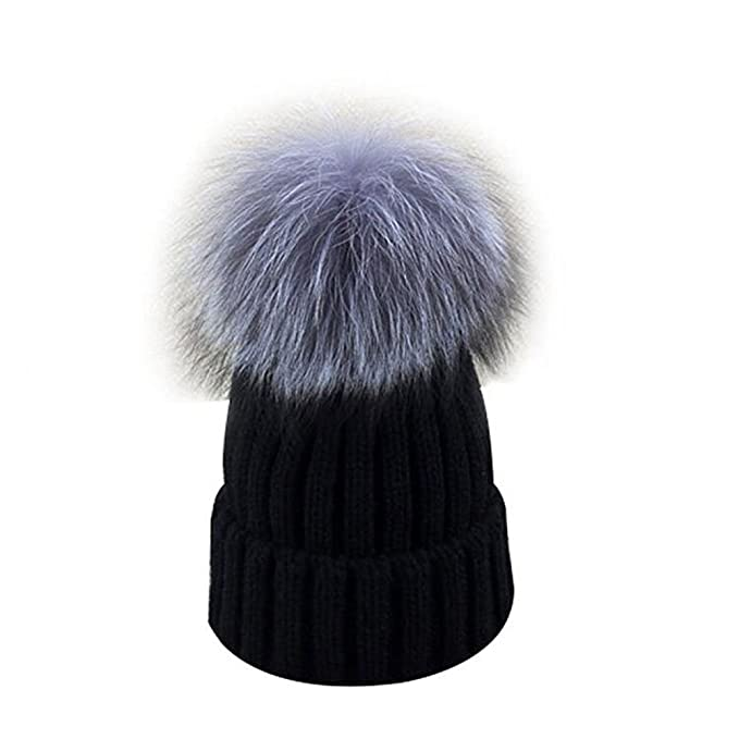 9c8e8497 GuoMan Womens Girls Knitted Fur Hat Real Large Silver Fox Fur Pom Pom Beanie  Hats Black