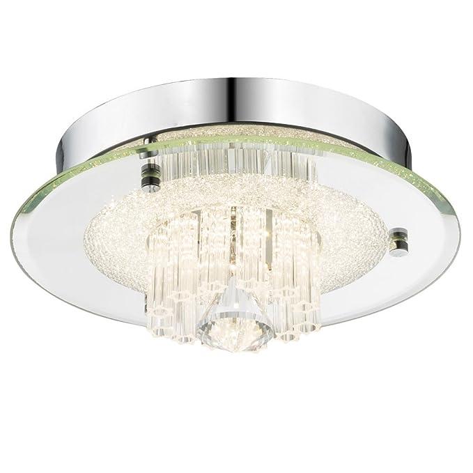 Lujo LED Lámpara de techo Salón Cristal Cromo Foco Espejo ...