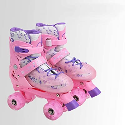 Rebily Roller Skates Children's Full Set 3-5-6-8-10 Years Old with Light Roller Skates Roller Skates Double Row Wheel Adjustable Beginner Skate (Color : Pink, Size : S): Home & Kitchen