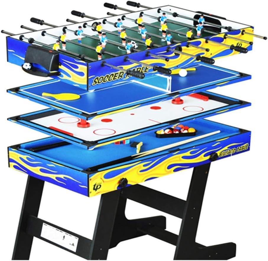 4-en-1 Mesa de Billar Plegable multifunción Mesa de Ping-Pong Mesa de Hockey sobre Hielo Mesa Juego de Mesa de futbolín para niños y Adultos