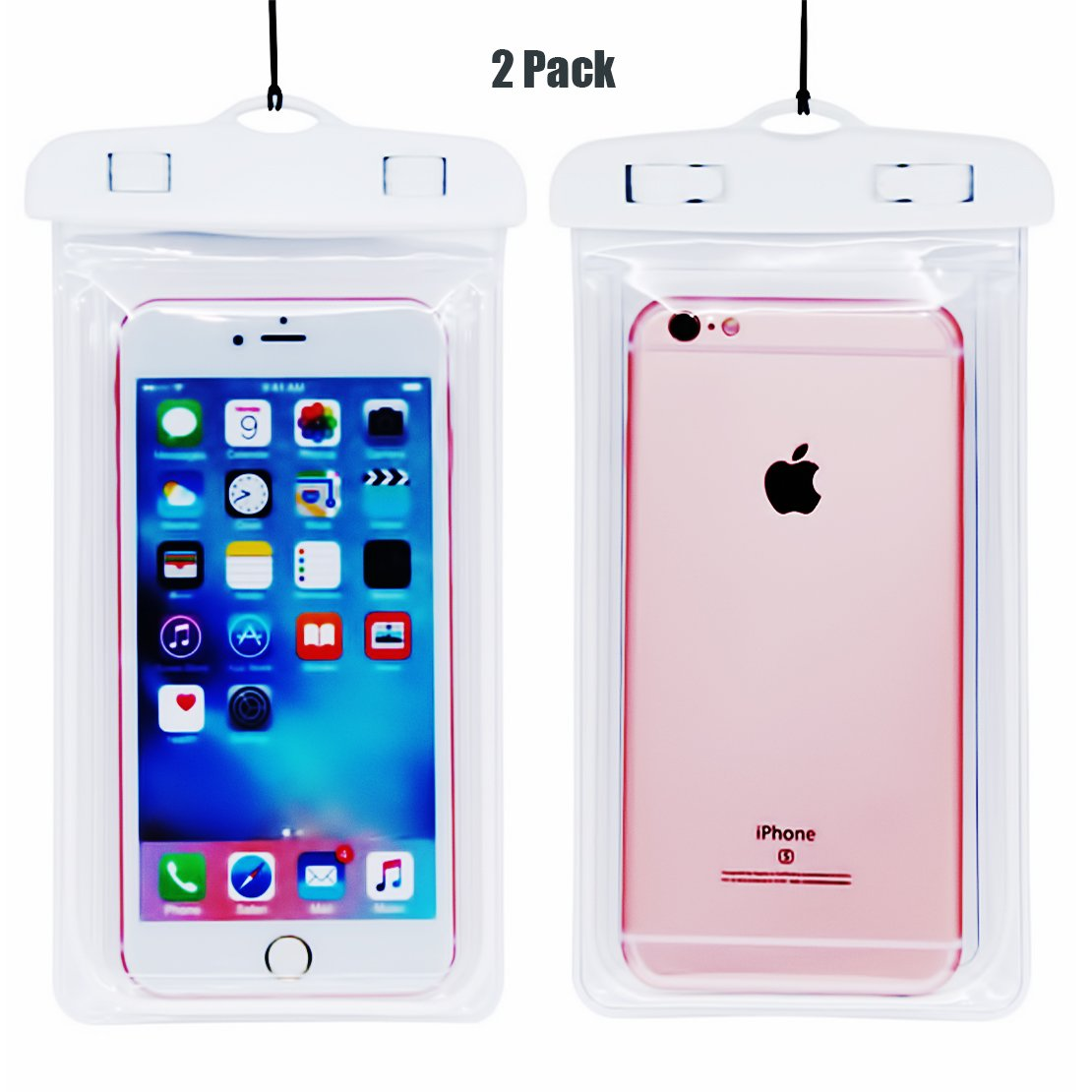 """(2Pack) Universal Waterproof Case, CaseHQ IPX8 Waterproof Phone Pouch Dry Bag for iPhone X/8/8plus/7/7plus/6s/6/6s plus Samsung galaxy s8/s7 Google Pixel HTC10 up to 6.0"""" diagonal (Black) 4336664583"""