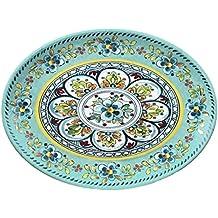 """Le Cadeaux Madrid 16"""" Platter, Turquoise"""