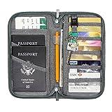 Jollyfit RFID Bloking Travel Wallet Credit Card Cover Boarding Pass Organizer Zipper Case Family Passport Holder (Gray)