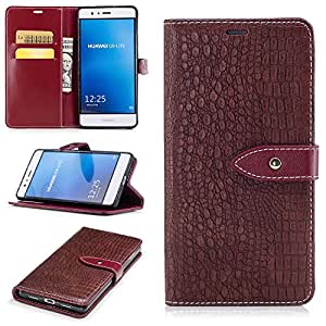 Huawei P9 Lite Case, Huawei P9 Lite Cover, Alfort Crocodile Grain Lines Phone Case Cover PU Leather Wallet Style Case for Huawei P9 Lite Smartphone (Brown)