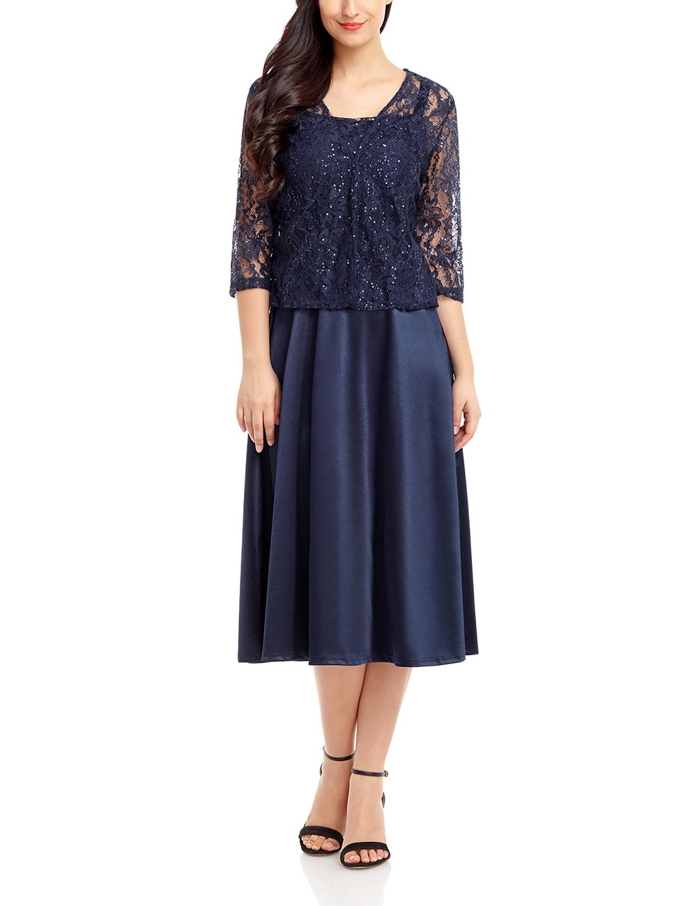Lookbook Store Women's Two-Piece Set Mother of The Bride Dress with 3/4 Sleeve Lace Jacket Navy Blue Size Medium(US 8-10)