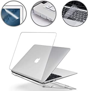 Applefuns 4in1 MacBook Air 13 Inch Case Suit A1369 and A1466 Laptop Accessories, Hard Shell Case + Keyboard Cover + Screen Protector + Dust Plug, Crystal Clear