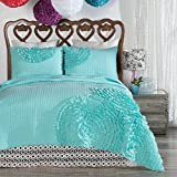 North End Décor Delta Rose Turquoise Ruffled Quilt Set, Queen/Full 3-Piece