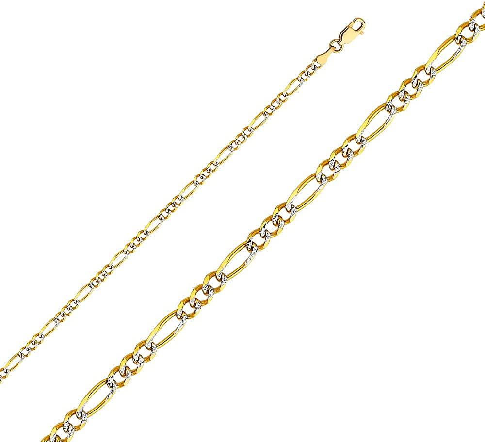 Jewels By Lux 14K White and Yellow Gold Figaro White Pave Chain Necklace With Lobster Claw Clasp