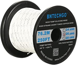BNTECHGO 26 Gauge Silicone wire spool 250 ft White Flexible 26 AWG Stranded Tinned Copper Wire