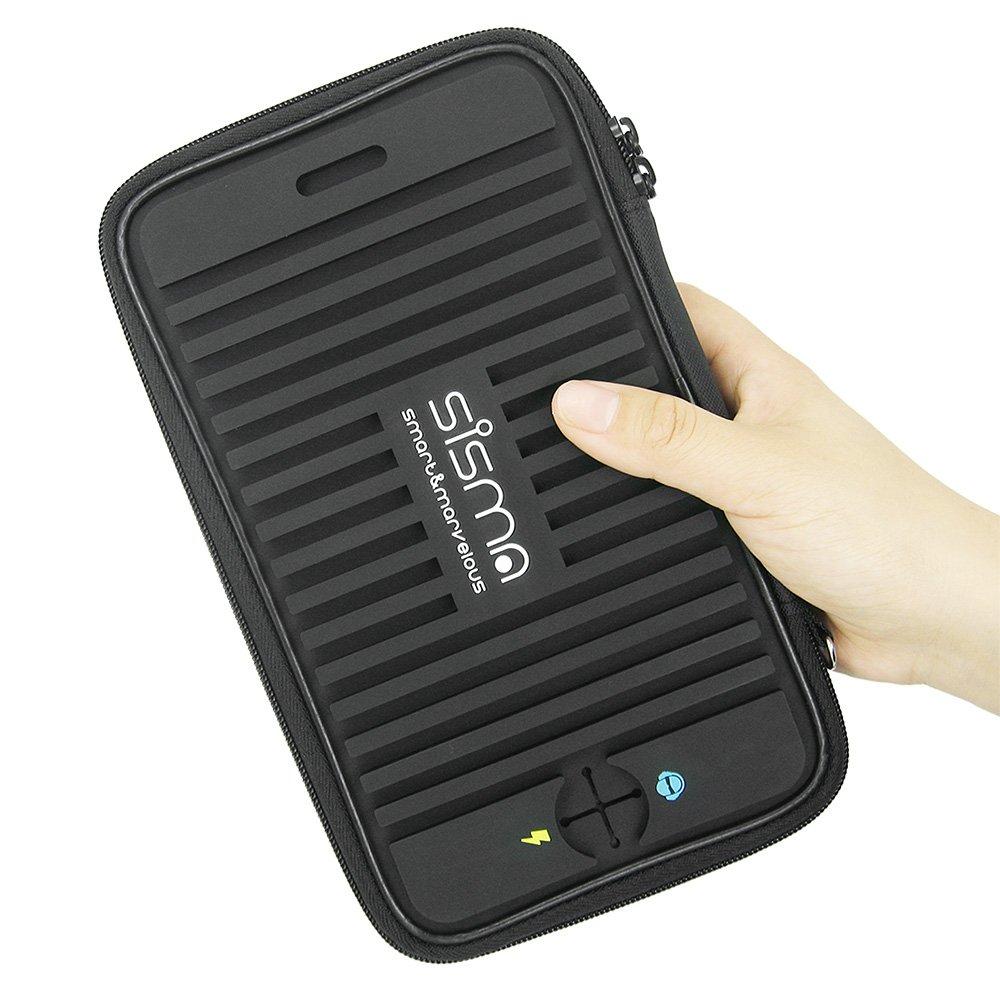 Borsa Accessori Elettronici sisma Custodia Cavi da Viaggio per Riporre PowerBank Caricabatterie Auricolari Chiavette USB Schede Memoria Nero SCB16128S-WB-B