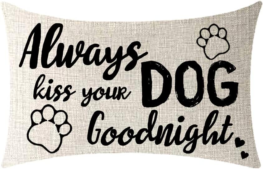 NIDITW Dog Quotes Always Kiss Your Dog Goodnight Cotton Burlap Decorative Rectangle Throw Lumbar Waist Pillow Case Cushion Cover for Couch Living Room 12X20 inches(FF)