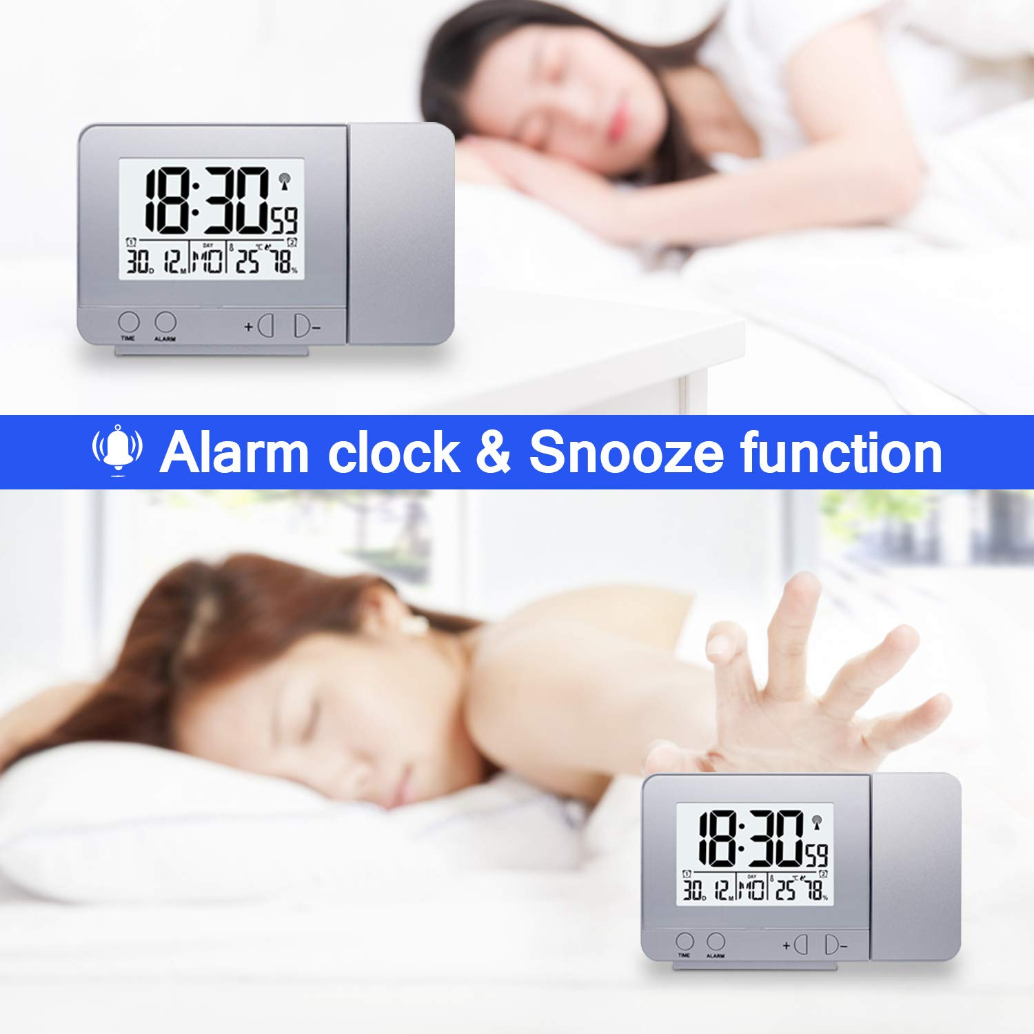 Projection Alarm Clock LED Display Projector Clock with Backlight Battery Powered Rotate Alarm Clock