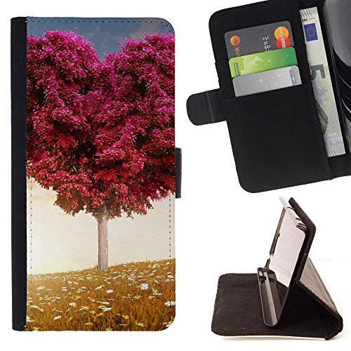 God Garden - FOR Apple Iphone 5C - Love Heart Tree Fields - Glitter Teal Purple Sparkling Watercolor Personalized Design Custom Style PU Leather Case Wallet Fli