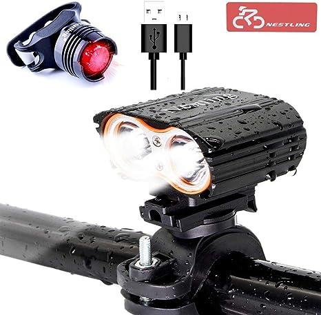 Nestling Luces Bicicleta, Luz Bicicleta Recargable USB,LED Luz ...