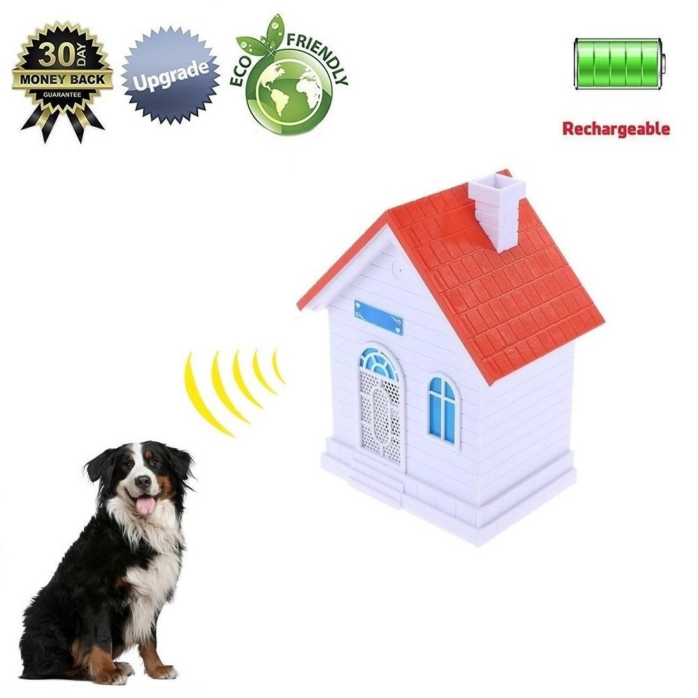 YC° Newest Rechargeable Ultrasonic Bark Control Device Anti Barking Training Tool Sonic Deterrent Silencer House Shape Safe Outdoor Use (Red)