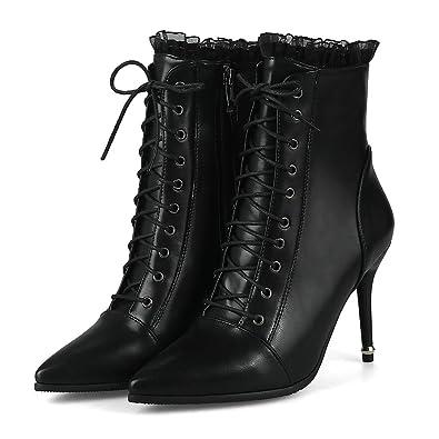 b4509eca454 Amazon.com | Women Lace up Stiletto Ankle Boots Spring Dress High ...