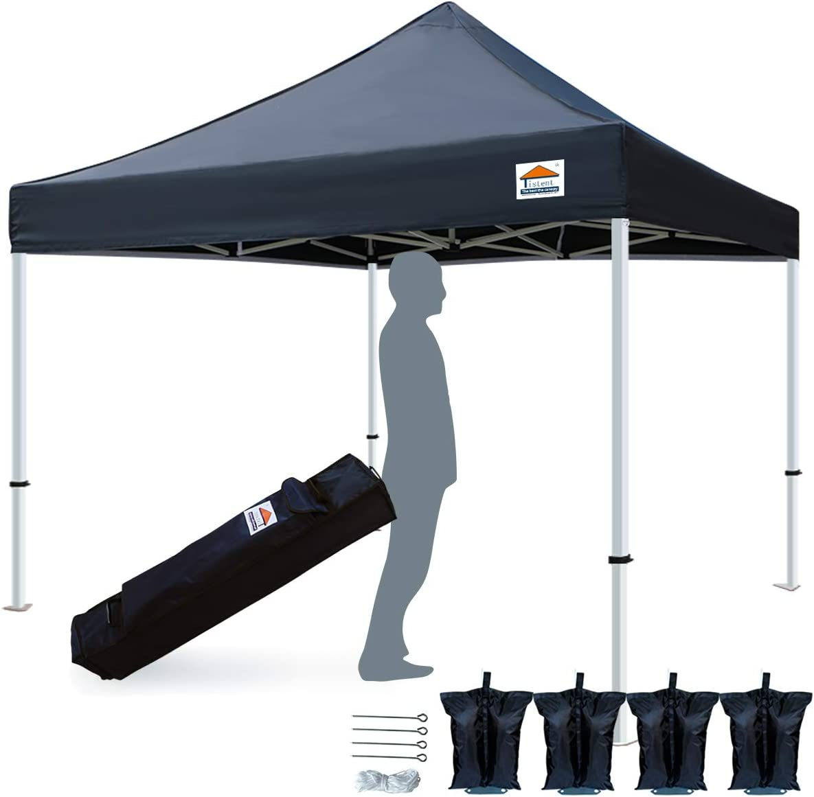 TISTENT 10 x10 Ez Pop Up Canopy Tent Commercial Instant Shelter with Heavy Duty Carrying Bag, 4 Canopy Sand Bags Black